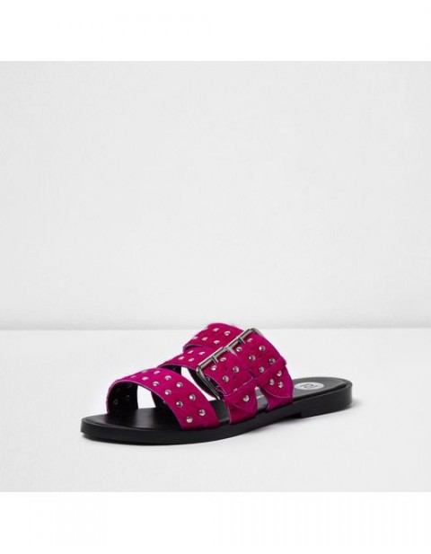 River Island Pink studded strap sandals