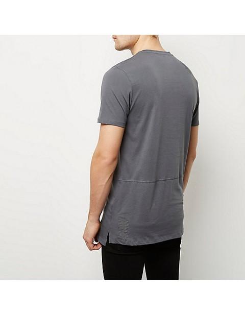 Grey patch work longline t-shirt