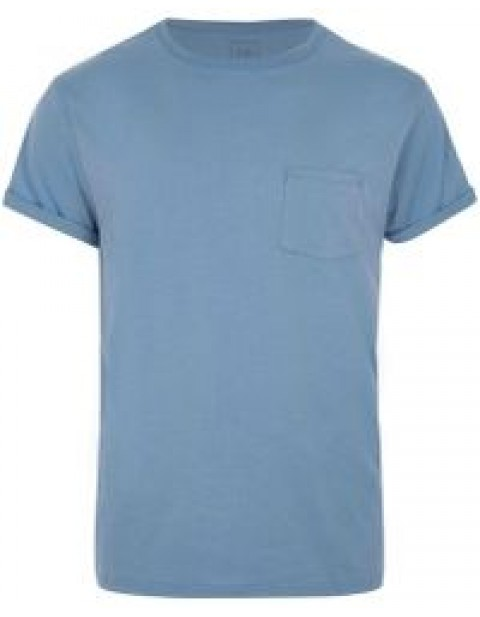BIG AND TALL BLUE ROLL SLEEVE T-SHIRT