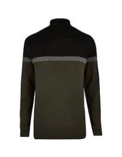 DARK GREEN COLOUR BLOCK ROLL NECK JUMPER