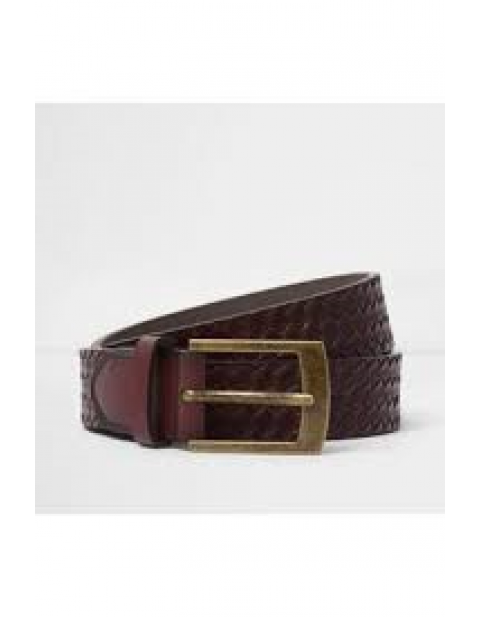 LIGHT BROWN EMBOSSED WEAVE BELT