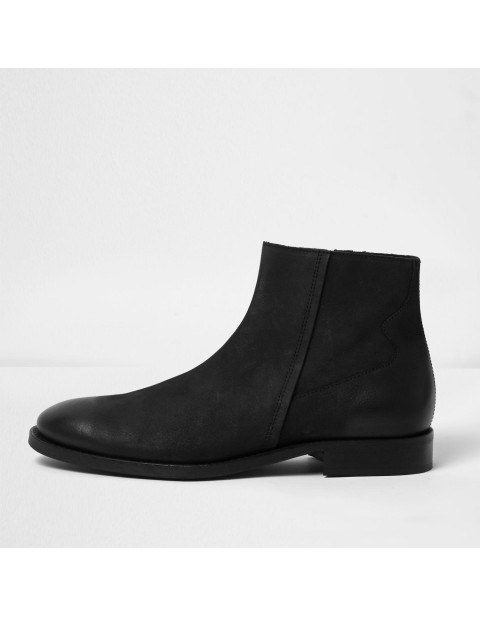 Black Leather Seam Boots