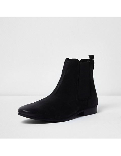 Black nubuck leather Chelsea boot