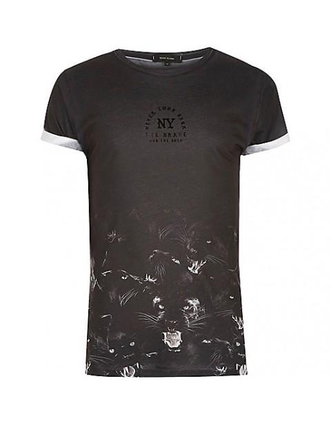black panther  hem print tshirt black