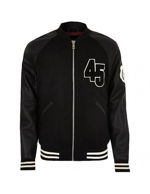 Black varsity bomber jacket