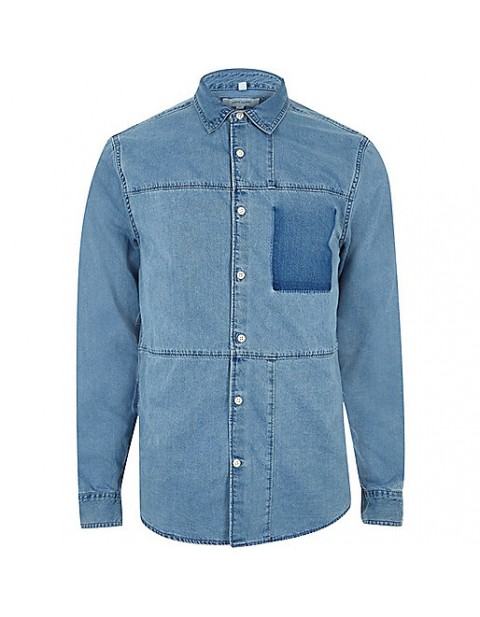 Blue denim panel shirt