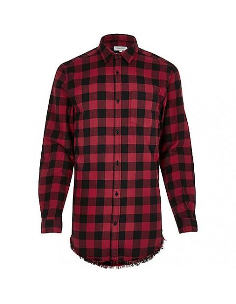Dark red longline raw hem check shirt red