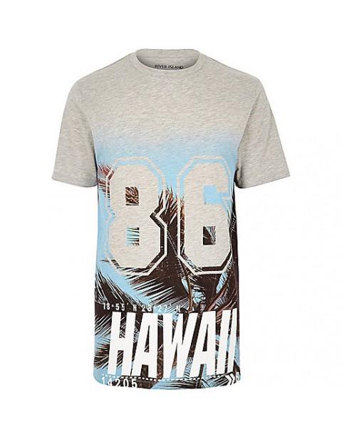 Grey Hawaiian Print Longline Tshirt