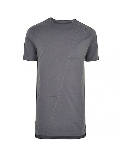 Grey patch work longline t-shirt