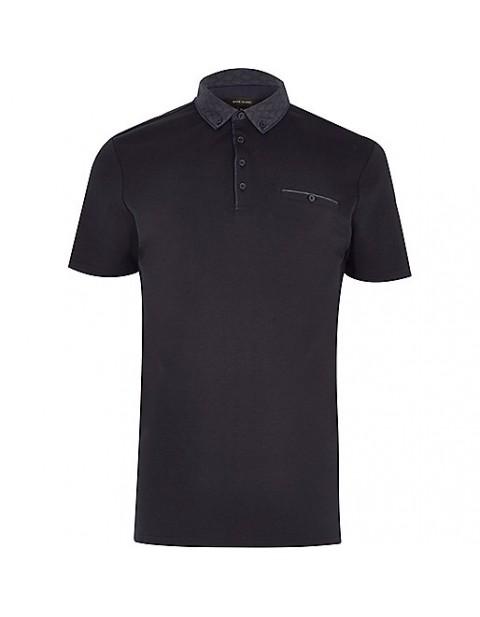 Navy Button down polo shirt