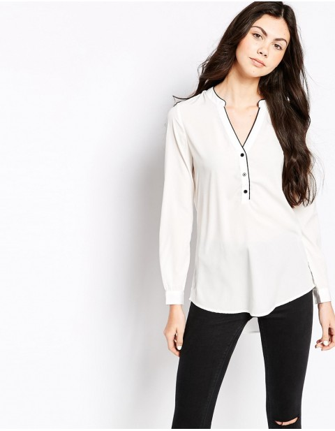 Plain Long Sleeved Button Front Shirt