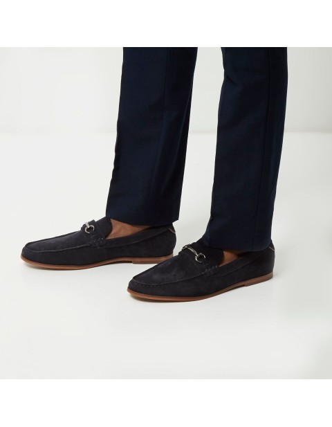River Island Blue Navy Suede Snaffle Loafers