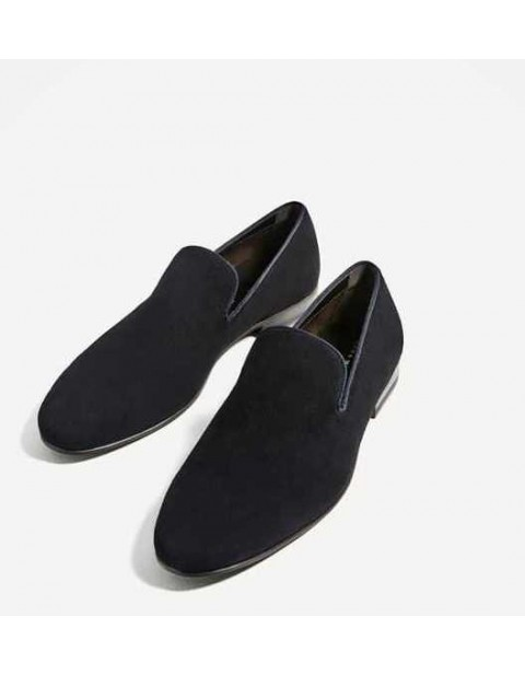 EMBOSSED SPLIT SUEDE LEATHER LOAFERS