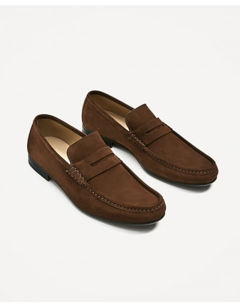 BROWN SPLIT SUEDE LEATHER LOAFERS